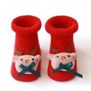 Chaussette de mode Terry Christmas Baby Elk Bas Santa Claus Non Slip Gardez des chaussettes de plancher pour enfants de silice chaude Hiver 5 5xy K2