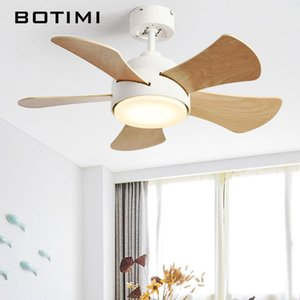 Arrival Nordic LED Ceiling Fans With Lights For Dining Modern 5 Wooden Blades Low Surface Mounted Electric Fan Lamp