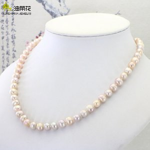 Elegant Natural Freshwater Pearl 7-8mm Necklace Jewelry Woman Girl Wedding Christmas Gift Wholesale Price