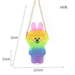 Tie Dye Cute Children's Pioneer Shoulder Bag Rainbow Grils Rabbit Messenger Handbags Decompression Fashion Poppers Bubble Student Backpack G93XEPH