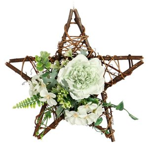 Artificial Camellia Wreath Star Shape For Hanging Front Door Wall Window Wedding Party Farmhouse Home Decor Decorative Flowers & Wreaths
