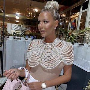 Vero Sinly 2020 Mulheres Mais Novas Pearl Top High Street Designer Handmade Celebridade Party Club Outfit Shawl