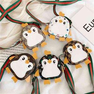 Cartoon Penguin Shape Designers PU Leather Backpack Purses Kids Boys Girls Retro Crossbody Bags Knit Belt One Shoulder Messenger Bag Christmas Party Gift G98GYTG