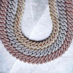 Высокое качество CZed Out Мужчины Ювелирные Изделия 5a CZ Хип-хоп Bling Micro Pave 19mm Cuban Link Цепочка Большое тяжелое кореначное ожерелье для мужчин Boy T200824