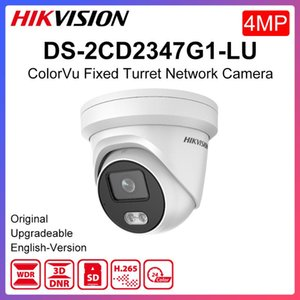 Hikvision Colorvu كاميرا IP الأصلية DS-2CD2347G1-LU 4MP شبكة Poe H.265 CCTV SD فتحة فتحة بطاقة