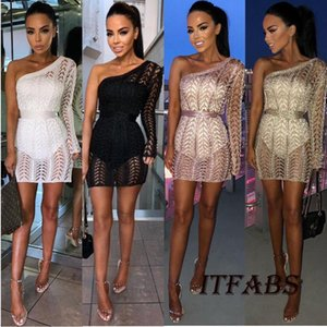 Casual Dresses Women Autumn One Shoulder Single Sleeve Sexy Slim Knit Dress Clubwear Outfit