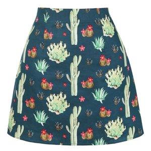Skirts Cotton Womens High Waist Cactus Floral Skirt SS0008 Summer Faldas Mujer Retro Vintage Punk Ladies Sexy Mini