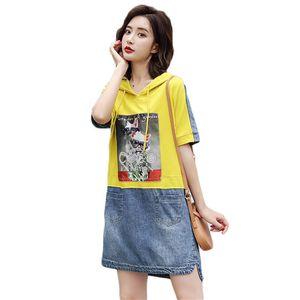 Платье лето с капюшоном уплотнительная одежда джинсовая короткая женщина плюс размер повседневная свободная мини-печать рубашка, одетая в джинсы IH56