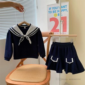 Preppy style children clothing sets girls Navy lapel tie long sleeve tops+pleated skirt 2pcs kids casual outfits A7776