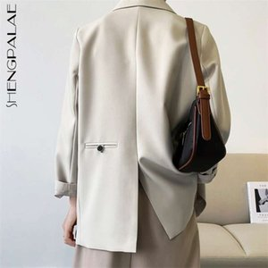 SHENGPALAE Temperament Back Split Blazer Women's Spring Notched Loose Single Breasted Long Sleeve Silhouette Coat Suit 210929