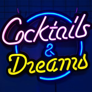 Custom Made Neon Sign Wall Cocktails and Dreams LED Light Flex Neon HandMade Beer Bar Shop Logo Pub Store Club Nightclub