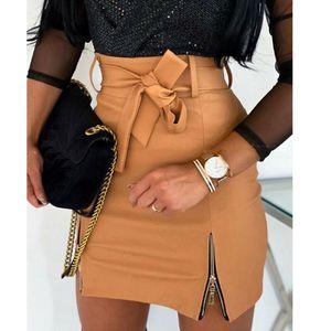 Юбки женские мини юбка тонкий карандаш Высокая талия PU кожи Bodycon Ropa Mujer