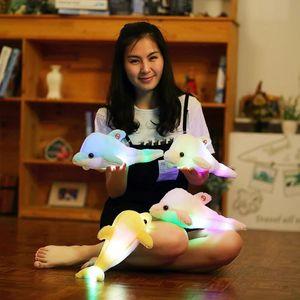 Плюшевые игрушки Куклы 32 см Креатии Лейчт Plüsch Delphin Puppe Светящийся Kissen, Bunte Led-Licht Tier Spielzeug Kinder Geschenk