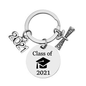 2021 Stainless Steel Keychain Graduate Season Souvenir Key Chain Keyring Graduation Gifts Positive Energy Jewelry Accessories