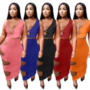 Sommerfrauen Zwei Stück Kleid Tops + Minirock Sexy Bodycon-Kleider Mode Feste Farbe Loch Bag Hüftrock 8367