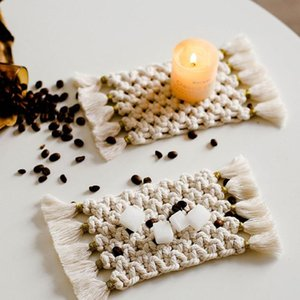 Table Runner Nordic Style Rectangular Placemat Hand-woven Cotton Linen Bowl Pad Tassels INS Simple Home Decoration