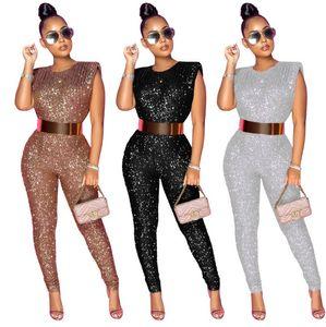 Женщины Блеск без рукавов скинни Сексуальные наряды для партии Club Club Chic Pumpsuit женские Rompers