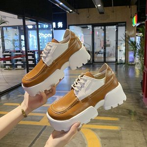 Autumn Women Wedges Shoes Platform Sneakers Fashion Casual Square Toe Designers Woman Chunky Leather Trainers White Dress