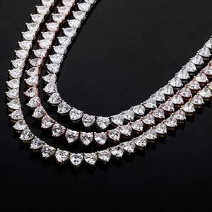 Tennis Chain Necklaces For Men Women Luxury 6mm Bling Heart Zircon Necklaces Fashion 18K Gold Rhodium Plated Hip Hop Necklaces