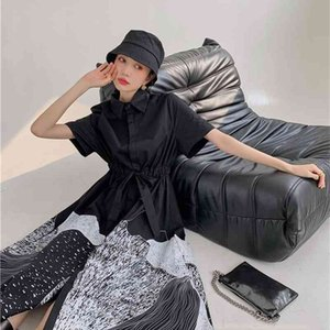 Casual Dresses Darkness Black Long Shirt Women Summer Short Sleeve Lace Up Button Desinger 2021 Aesthetic Clothes 1MWO