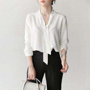 Весна осень 2021 V-образной вырез лук тонкий шифон рубашка корейская мода элегантные женщины с длинным рукавом белая блузка Blusas топы одежда женские блаус