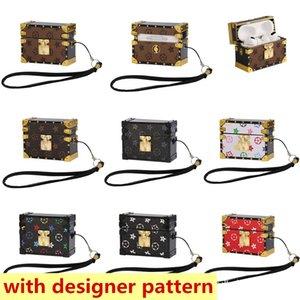 الأزياء الفاخرة مربع جلدية سماعة الحالات ل airpods برو 1 2 حالة حامي حزمة مصمم واقية غطاء مع الحبل