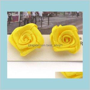 Accueil Jardin Fête Fête Fête Fournitures Fleurs décoratives Couronnes en gros100pCslot à la main 18mm Satin Rose Ruban Rosettes Tissu Flowe 76H4J
