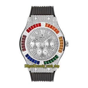 MISTFOX ETERNITY V315 2 Хип-хоп Мода Мужские Часы CZ Diamond Inlay Серебристый Набор Кварц-Движение Мужчины Смотреть Ледяные Радуги Алмазы Безэль Сплав Чехол Резина