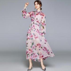 Pist Şifon Uzun Kollu Elbise Kadın Standı Boncuklu Yaka Romantik Sicilyalı Güller Çiçek Baskı Elbiseler Kadın Maxi 2 adet Casual