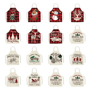 Christmas Apron cotton linen home kitchen sleeveless smock parent-child party decorative apron GWB10637