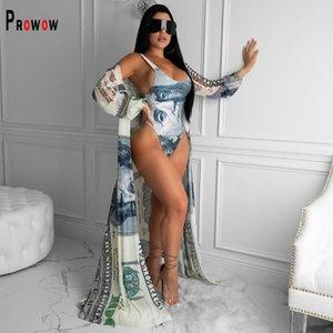 Prowow Women Cover-Ups With One Piece Swimsuits 2021 Stylish Print Beach Wear Bathing Suit Size S-4XL Female Swimwear Women's