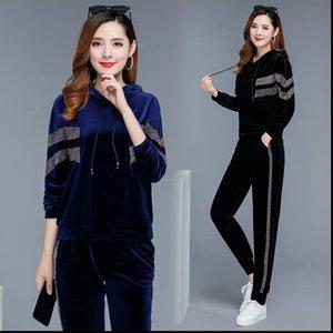 Tracksuit Set 2 Piece Women Tracksuits Clothing Pullover sweater coat pants Elastic Velvet Conjunto Plus Size 5XL Sportsuits Lady