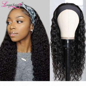 Headband 100% Cachecol Humano 150% Densidade Remy Onda de Água Brasileira Natural Glueless para mulheres peruca de cabelo longqi
