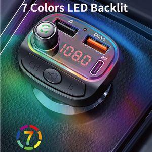블루투스 5.0 자동차 MP3 플레이어 FM 송신기 무선 핸즈프리 자동차 키트 지원 QC3.0 + 18W PD 충전기 EQ LED RGB 백라이트