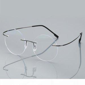Lunettes de lecture sans monture anti-bleue hommes femmes rondes de lunettes de lunettes de lunettes de lunettes de vue Myopie Presbyopia Verre + 1,50 + 2.00