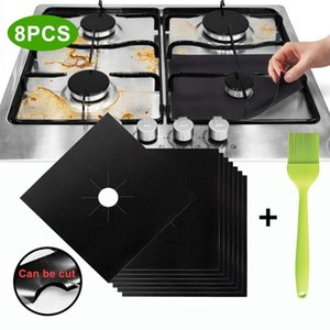 Mats & Pads 8Pcs 27*27cm Gas Stove Surface Protection Pad Reusable Top Cooker Protector Heat Resistant Microwave Oven Cover