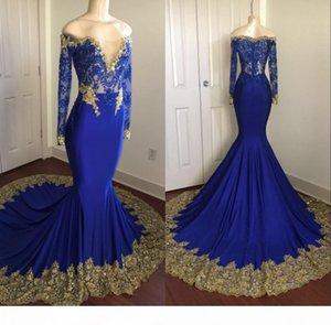 2018 Royal Blue Mermaid Long Sleeves Prom Party Dresses Sheer Lace Gold Appliques Beading Zipper Graduation Dress Formal Evening Gown