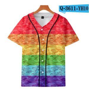 Men's Baseball Jersey 3d T-shirt Printed Button Shirt Unisex Summer Casual Undershirts Hip Hop Tshirt Teens 068