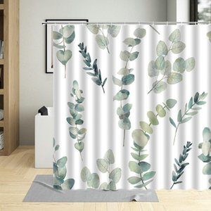 Shower Curtains Green Plant Leaves Bath Curtain Bathroom 3d Printed Fresh Waterproof Polyester Cloth With Hooks Home Decor Mat
