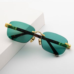 Green Crystal Glass Mirror Sunglasses Mens Fashion Designer Luxury Brand Sun Glasses Rimless Punk Eyewear Glasses