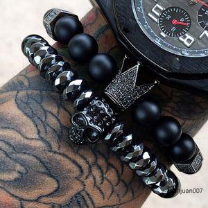 Bracelet Hommes / Crâne / en acier / en pierre / Perles / de luxe / Bracelets pour Mens Couronne Zircon Homme Bracelet Homme Bijoux Valentine Cadeau C19041703
