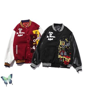 Autumn Winter TRAVIS SCOTT Patchwork Embroidery Baseball Uniform Mens Hip-hop Stand-up Jacket TRAVIS SCOTT Zipper Jacket