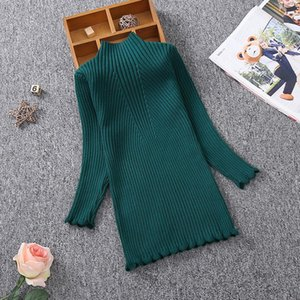 Otoño invierno niñas de punto vestido niños ropa para niños princesa niñas suéter vestido 2-13y niñas jersey suéter tejido algodón 569 k2