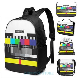 Backpack Funny Graphic Print TV No Signal USB Charge Men School Bags Women Cosmetic Bag Travel Laptop