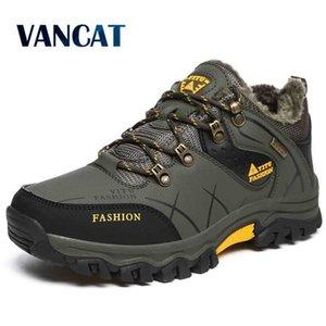 Moda Kış Deri erkek Kar Botları Sıcak Artı erkek Botları Açık Kaymaz Sneakers Erkekler Yürüyüş Çizmeler Su Geçirmez Çalışma Ayakkabıları 210619