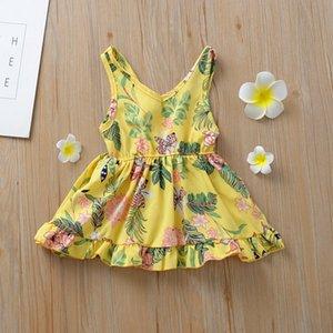 Baby Girl платье v воротник без рукавов короткое платье цветок напечатаны напечатанные новые летние хлопчатобумажные бутики милый жилет платья вскользь 525 к2