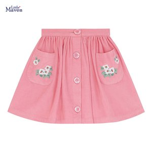 Little Maven Baby Girl Clothes Toddler Casual Cotton Button Pocket Pink Skirts S0972 210319
