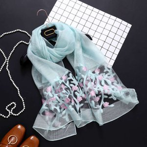 spring and summer silk embroidery sun protection beach towel travel money tree long ice silk shawl women's scarf