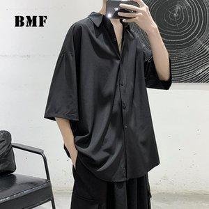 Erkek Casual Gömlek 2021 Yaz Buz Ipek Kısa Kollu Gömlek Kore Tarzı Streetwear Artı Boyutu Üç Çeyrek Erkekler KPOP Çift Giysileri Tops