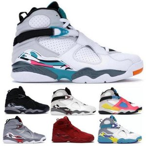 Jumpman 8 8s Basketball Shoes Chrome Aqua White Burgundy Playoffs Reflections Champion Valentines Day Doernbecher Men Trainer Sneakers